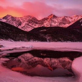 Winter Sunrise-Upper Kananaskis Lake, Canadian Rockies, Alberta, Canada. by Yves Gagnon