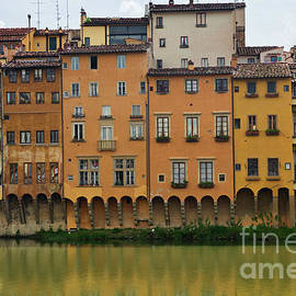 View of the historic buildings in Florence. Reflection in the river. by Beautiful Things