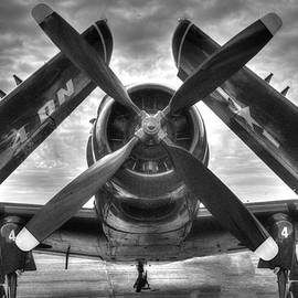 A-1 Skyraider Black and White by Philip Rispin