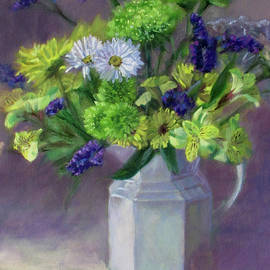 A Bit of Sunshine - Cheery flowers in a white antique pitcher by Bonnie Mason