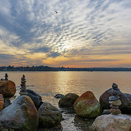 A Blessing of Inuksuit Overlook English Bay by Liz Albro