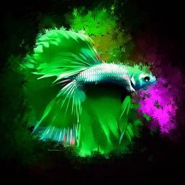 A Bright Green Betta Fish Abstract Portrait  by Scott Wallace Digital Designs