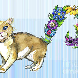 A Brown Furred Blue Eyed Cat Sprouting Flowers by Shelley Wallace Ylst