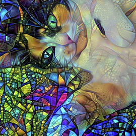 A Calico Cat Named Shadow - Stained Glass by Peggy Collins