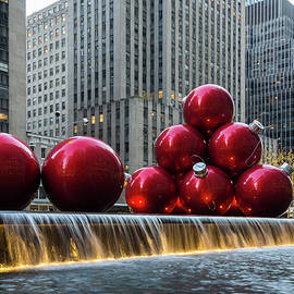 A Christmas Card from New York City - a 5th Avenue Fountain with Giant Red Balls