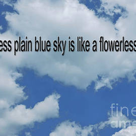 A cloudless plain blue sky is like a flowerless garden by Tony Hulme