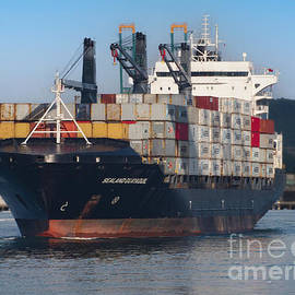 A Container Ship on the Panama Canal by L Bosco