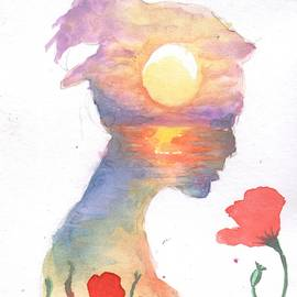 A dream about the sea and the red poppies by Chirila Corina