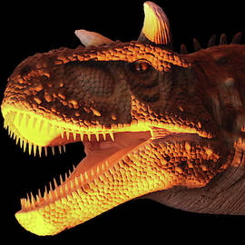 A Flesh Eating Carnotaurus Dinosaur in Yellow and Black by Derrick Neill
