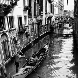 A Gondola in Venice In Black and White by Kay Brewer
