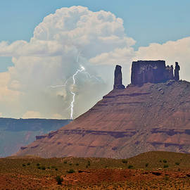 A Lightning Bolt at Castleton Tower, UT, USA by Derrick Neill