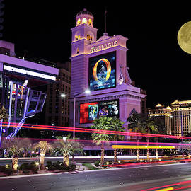 A Moon Over the Bellagio, Las Vegas, NV, USA by Derrick Neill