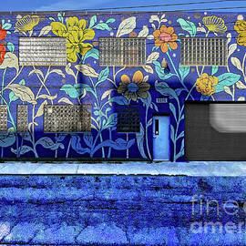 A Mural of Painted Flowers and Glass Brick by Walter Neal