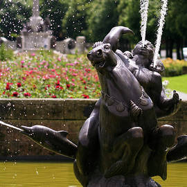 A Pool and Fountain in Port Sunlight, England, GB, UK by Derrick Neill