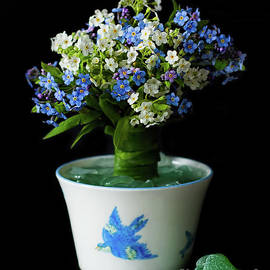 A Posy of Forget Me Nots Bluebirds and Beach Glass Topiary by Barbara McMahon