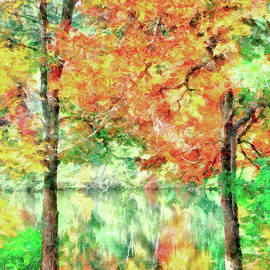 A Reflection of Autumn on Lake Pentucket by Betty Denise