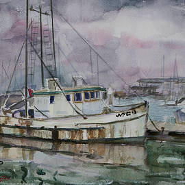 A Rusty Fishing Boat at Moss Landing California by Xueling Zou
