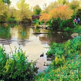 A Stroll by the Lake - Central Park in Autumn by Miriam Danar