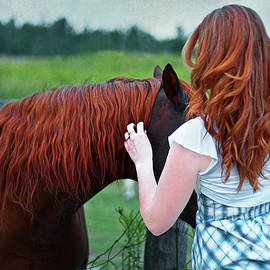 A Touching Moment between Two Gingers by Barbara McMahon