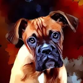 A Young Curious Boxer Portrait by Scott Wallace Digital Designs