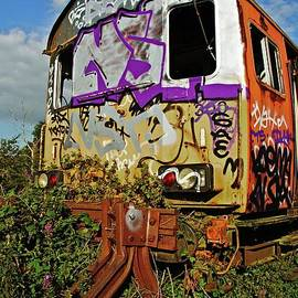 Abandoned and graffiti covered railway carriage.