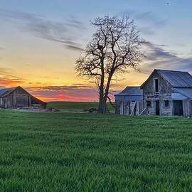 Abandoned Farmhouse at Sunset by Jerry Abbott