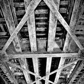Abandoned Old Train Bridge Black and White by Elizabeth Pennington
