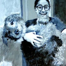 Abbie and Dizzy under painting by David Zimmerman