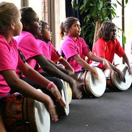 Aboriginal Drummers by Laurel Talabere