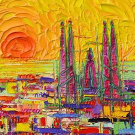 ABSTRACT BARCELONA SUNRISE SAGRADA FAMILIA FROM GUELL PARK knife oil painting Ana Maria Edulescu by Ana Maria Edulescu