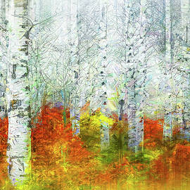 Abstract Birch Forest by Terry Davis