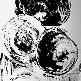 Abstract Bubbles Black and White by Sharon Williams Eng