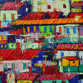 ABSTRACT CITY PATTERNS tep 73 textural impasto palette knife oil painting city by Ana Maria Edulescu by Ana Maria Edulescu