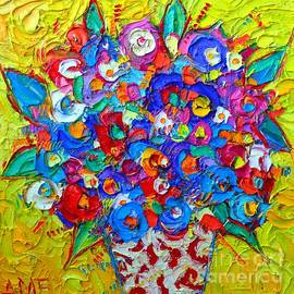 ABSTRACT COLORFUL FLOWERS OF HAPPINESS impasto palette knife oil painting modern impressionism art by Ana Maria Edulescu