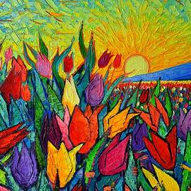 ABSTRACT COLORFUL TULIPS AT SUNRISE textural impasto palette knife oil painting Ana Maria Edulescu by Ana Maria Edulescu
