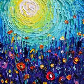 ABSTRACT MEADOW MAGICAL LIGHT textural impasto palette knife oil painting flowers Ana Maria Edulescu by Ana Maria Edulescu