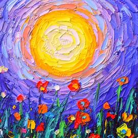 ABSTRACT MOONLIGHT MEADOW moon and wildflowers impasto palette knife oil painting Ana Maria Edulescu by Ana Maria Edulescu