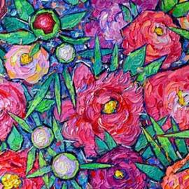ABSTRACT PEONIES AND WILD ROSES commissioned large palette knife oil painting Ana Maria Edulescu by Ana Maria Edulescu