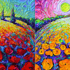 ABSTRACT POPPIES BLOOMING PLANETS day night colorful palette knife oil paintings Ana Maria Edulescu by Ana Maria Edulescu