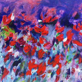 Abstract Purple and Red Flower Garden