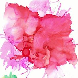 Alcohol Ink Abstract Red Geranium  by Sarah Niebank