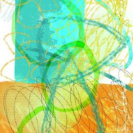 Abstract Scribble Art with Turquoise  by Sarah Niebank