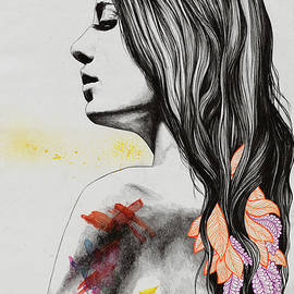 Achieving the Unavoidable - female nude and doodle leaves by Marco Paludet