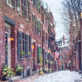 Acorn Street in Snow - Boston by Joann Vitali