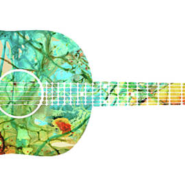 Acoustic Guitar 2 - Colorful Abstract Musical Instrument by Sharon Cummings