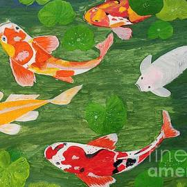 Fish in Green water Acrylic painting  by Sindhu Kumar