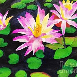 Acrylic Pink waterlily painting by Sindhu Kumar