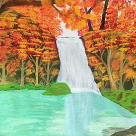 Acrylic Water Fall Painting by Sindhu Kumar