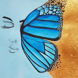 Acrylic women with half butterfly wings by Subhrata Patel