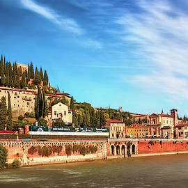 Adige River and Roman Theatre Verona Italy by Carol Japp